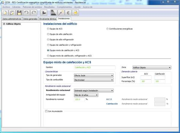 datos instalacion termica CE3X