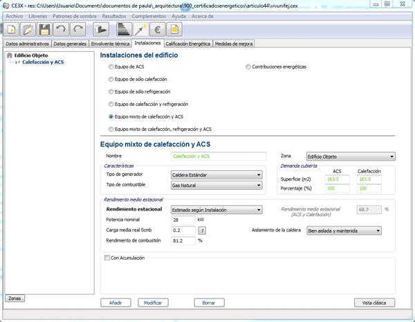 instalacion ACS certificado energetico