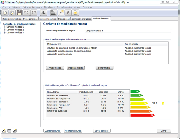 Medida mejora certificacion energetica