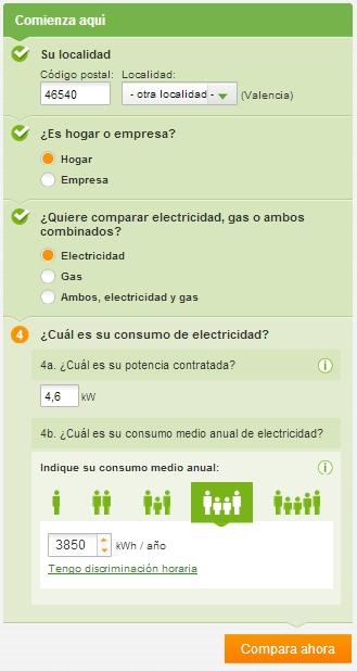 comparador tarifa consumo energia