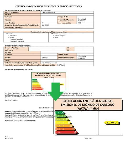 certificado energetico ecohipoteca calificacion