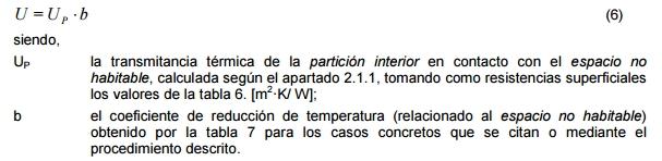 transmitancia termica particion interior certificado