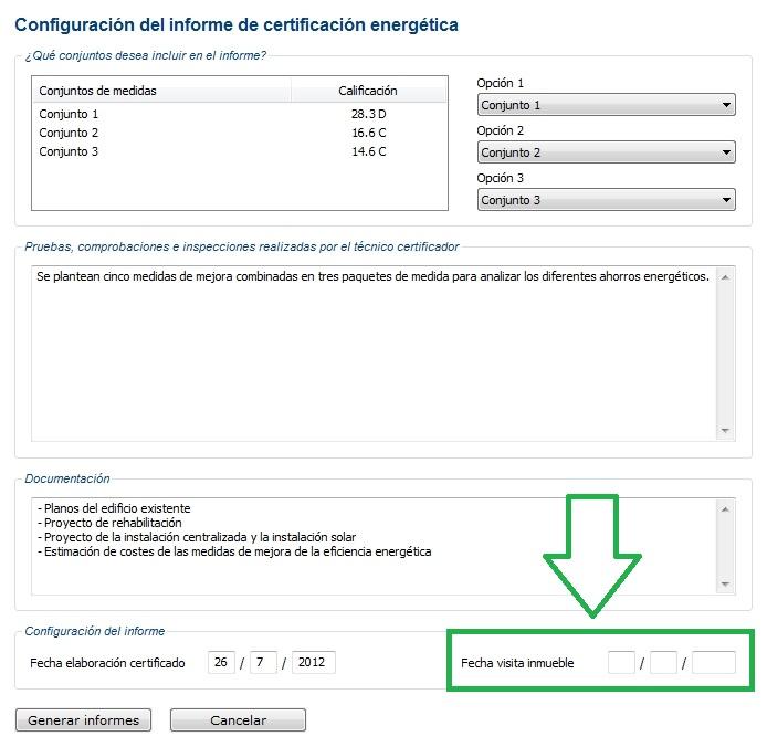 generacion informe ce3x v 2 1 fecha visita certificado