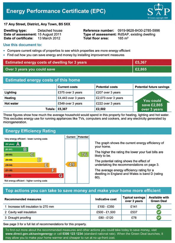 certificado eficiencia energética reino unido información consumidor