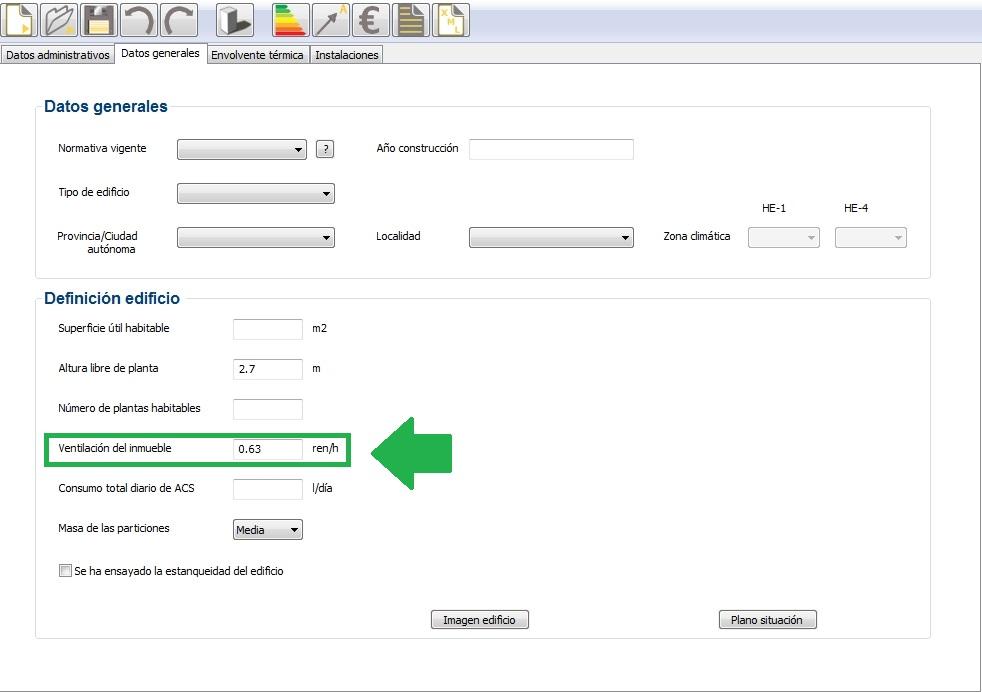 cálculo ventilación renovaciones hora por defecto CE3X 2 1
