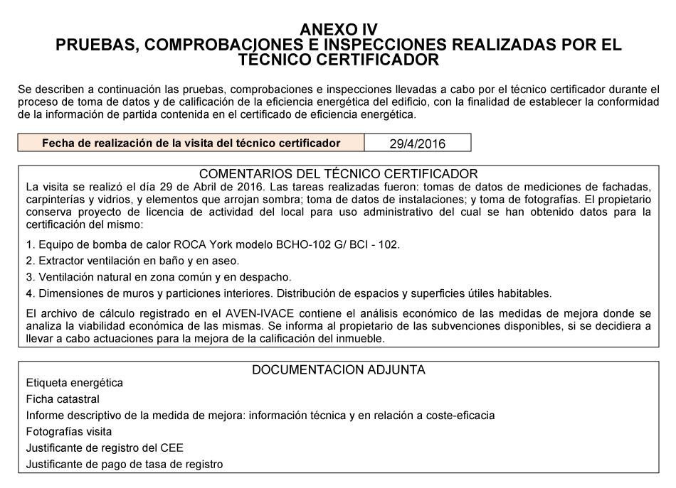 Contenido mínimo del certificado energético