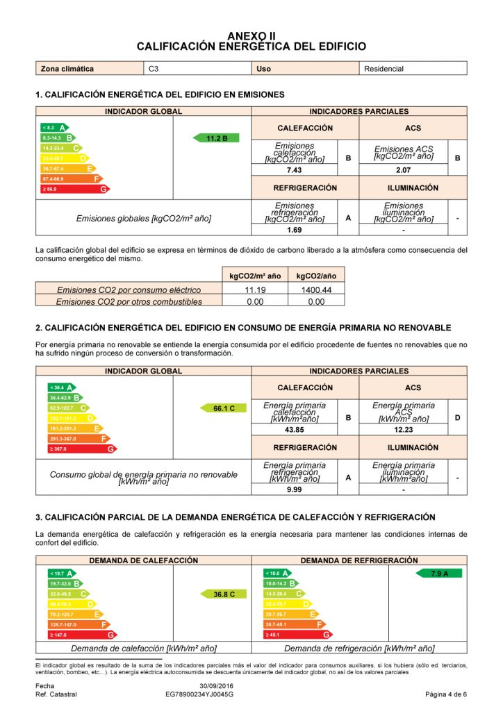 calificacion energetica obtenida anexo III certificado energetico