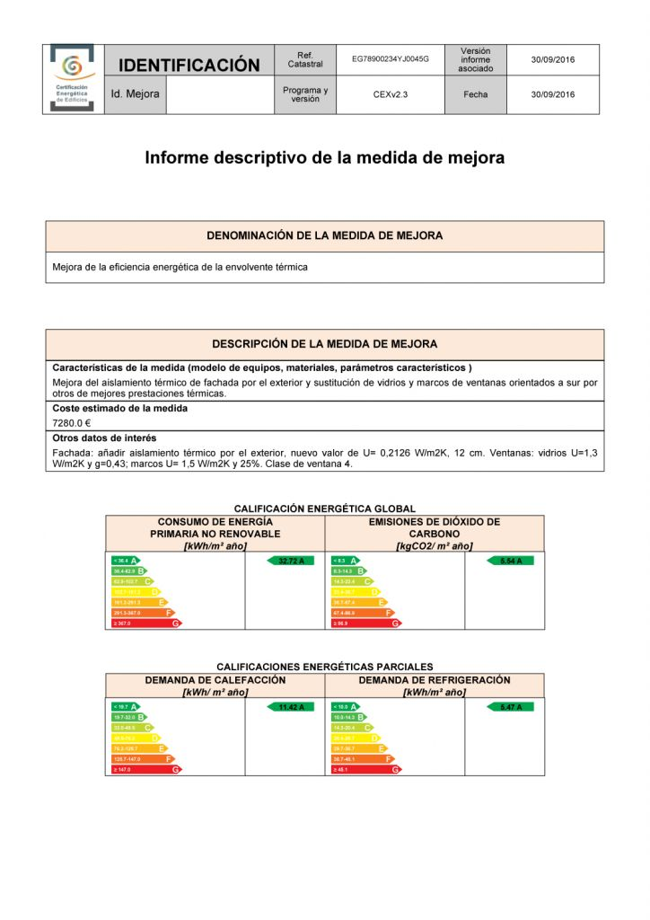 informe certificado energetico contenido minimo