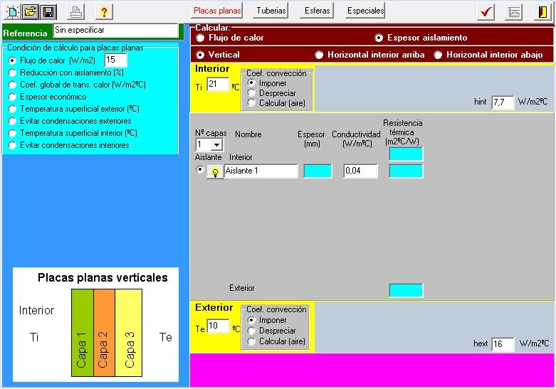 AISLAM temperatura interior coeficinte conveccion radiacion
