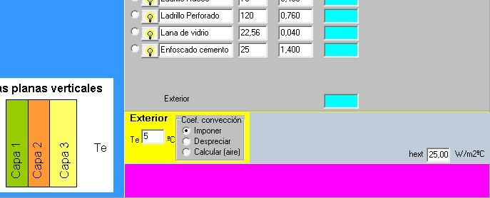 AISLAM condiciones exteriores coeficiente conveccion radiacion