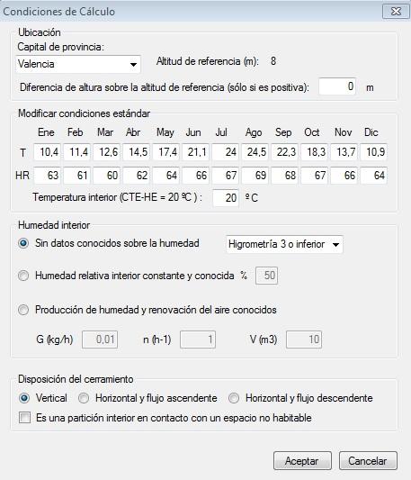 limitacion de condensaciones condiciones calculo