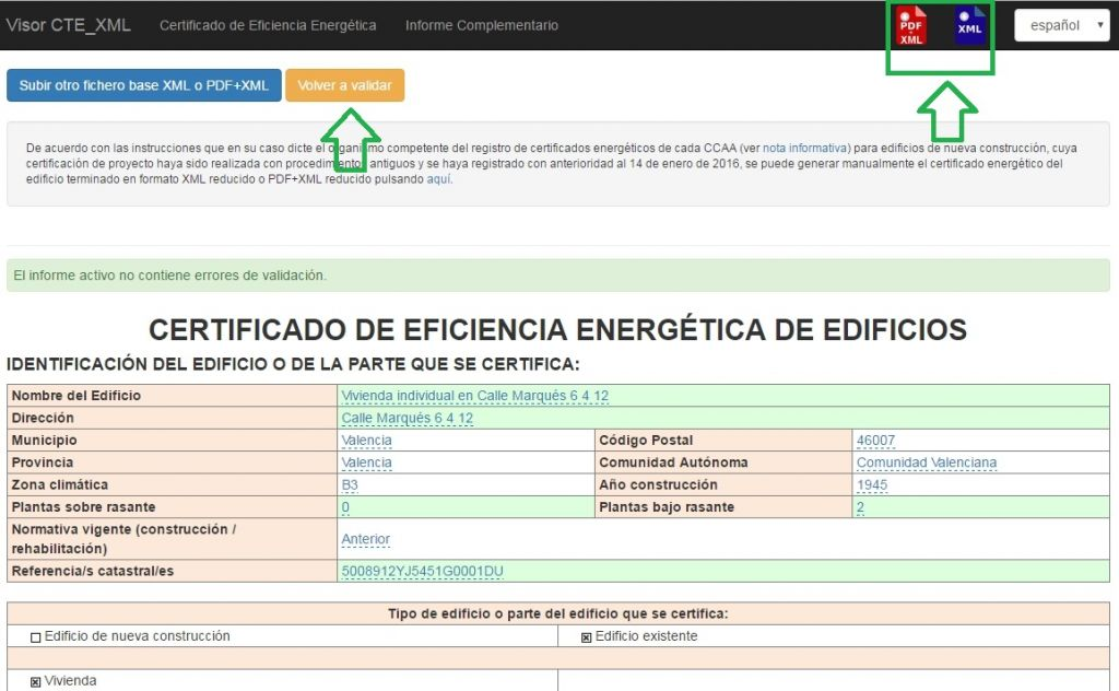 Visor CTE XML Certificado Eficiencia Energética