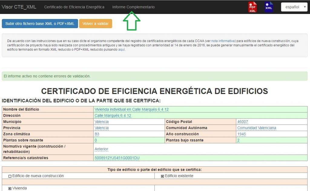 Visor CTE XML Informe Complementario Certificado Eficiencia Energética
