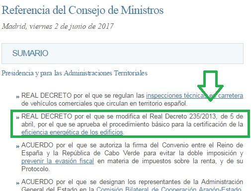 Modificacion RD 235 2013 consejo de ministros