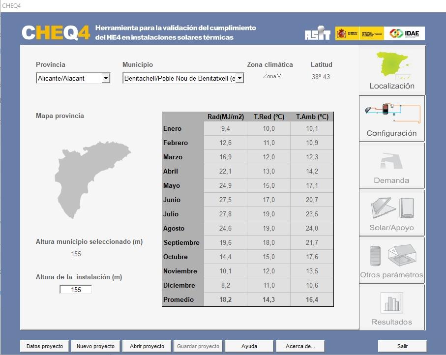 CHEQ4 localización zona climática contribución solar