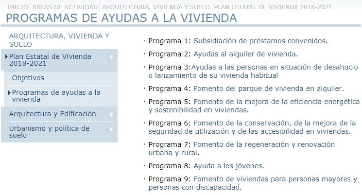 Plan de vivienda 2018-21 Ministerio Fomento