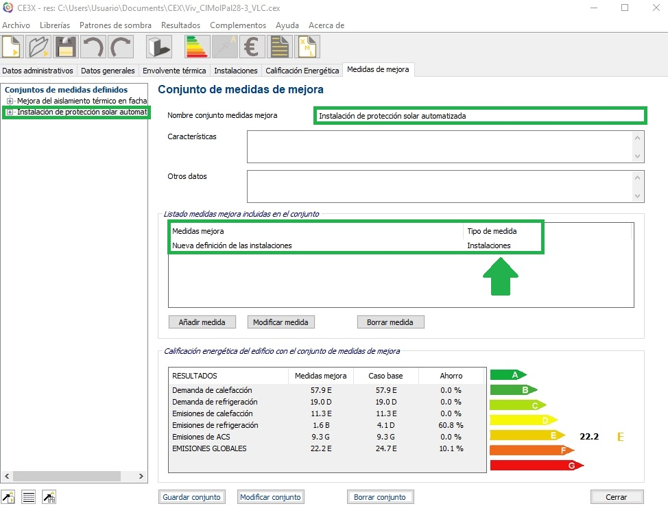 Complemento de CE3X medida de mejora instalaciones