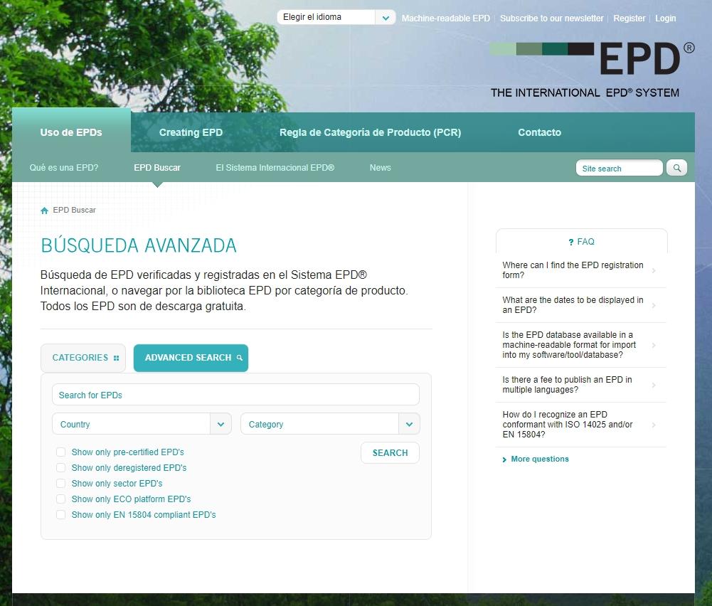 EPD declaración ambiental de producto