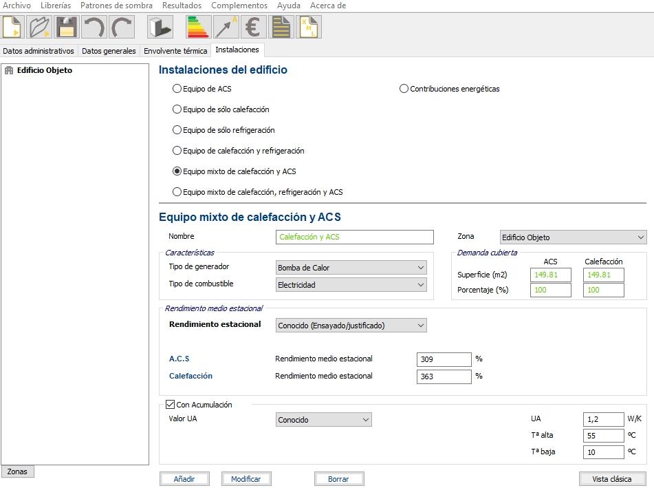 Aerotermia en CE3X deposito acumulacion rendimiento