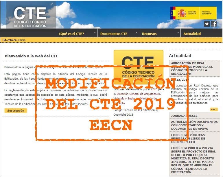 aprobacion modificación del CTE actualidad 2019