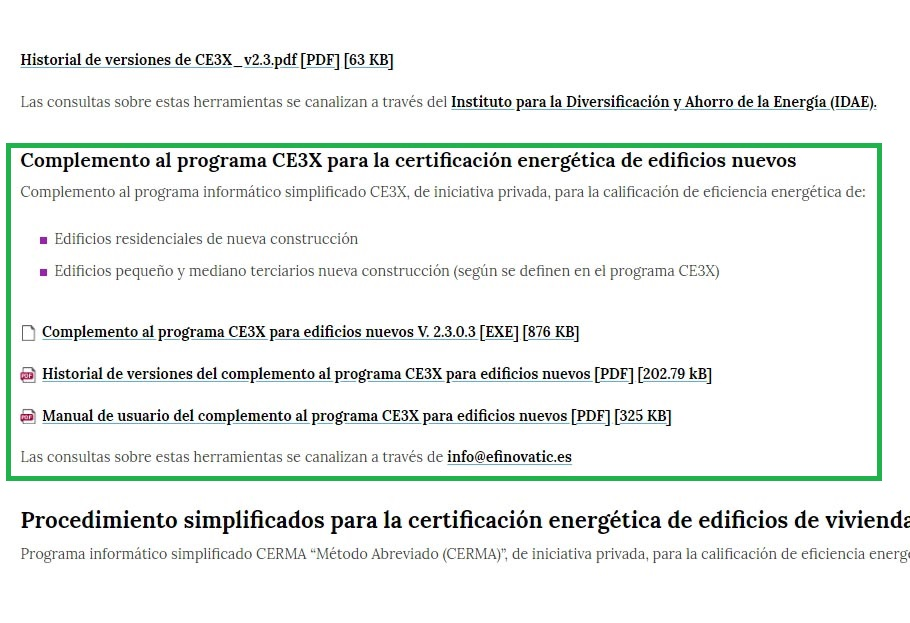 CE3X para nuevos edificios ministerio transicion ecologica
