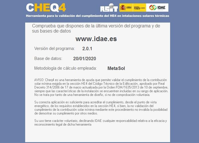 nueva versión de CHEQ4 programa 2020 IDAE