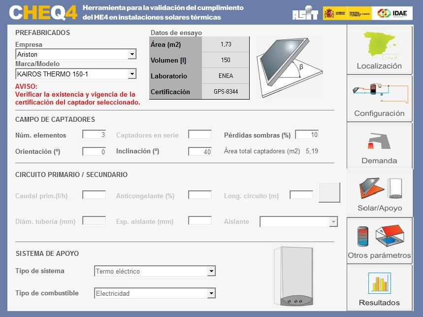nueva versión de CHEQ4 solar apoyo