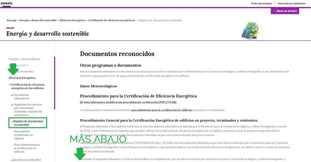 documentos reconocidos modificados certificación energética