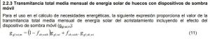 transmitancia de la enegia solar media mensual