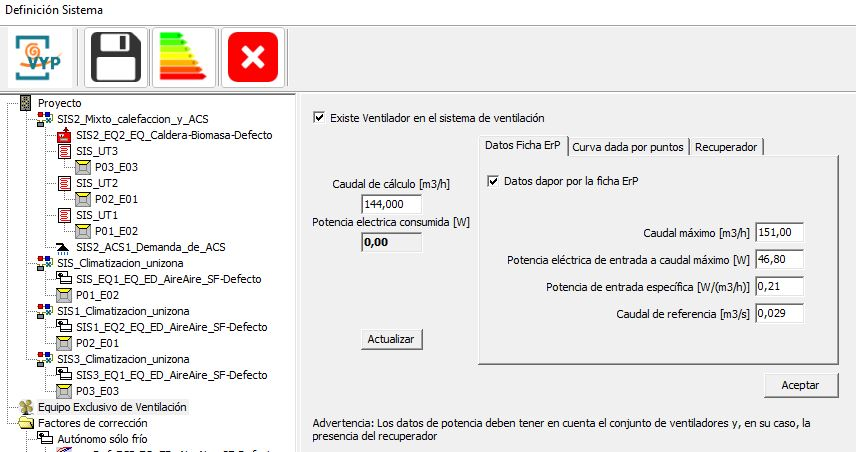 HULC sistema de ventilacion introduccion datos ficha Erp