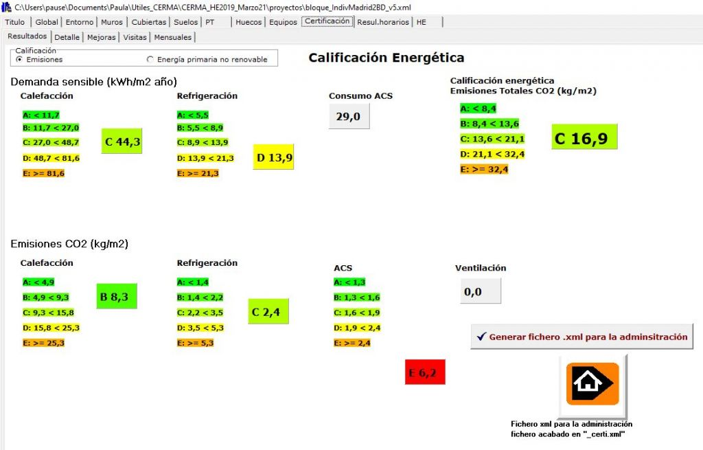 CERMA v5 calificacion emisiones energia primaria