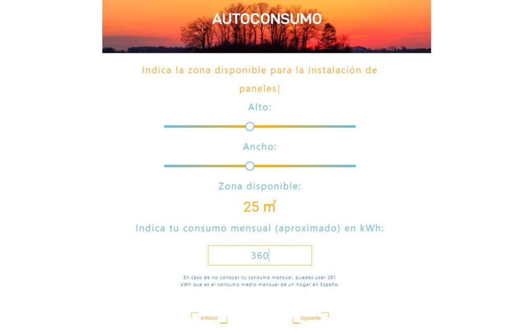 calculadora solar de autoconsumo fotovoltaico consumo