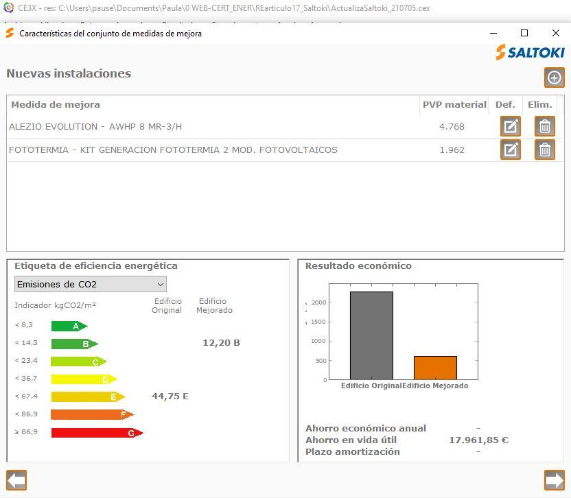 complemento de CE3X de instalaciones termicas calefaccion ACS resultados